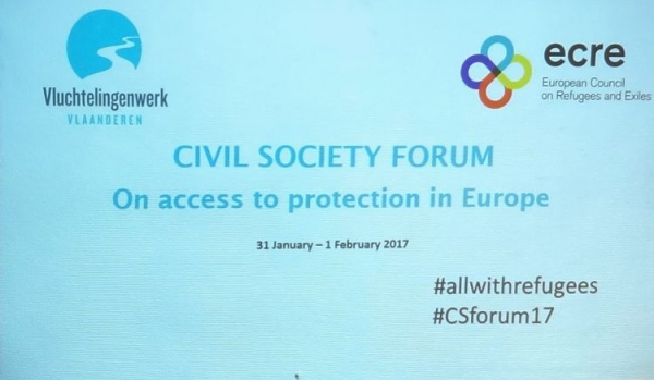 Civil Society Forum on access to protection in Europe organized by the Vluchtelingenwerk Vlaanderen took place in Brussels on 31 January and 1 February 2017.  Vluchtelingenwerk Vlaanderen (Flemish Refugee Action) is an independent, non-governmental o